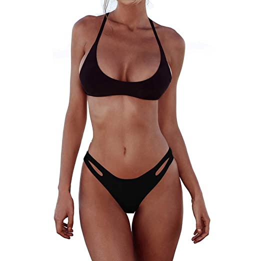 2d4ade79b82 MELYUM Womens Bathing Suits String Swimsuit for Women Brazilian Cheeky  Bikini Set Thong Hollow Out Black