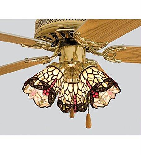 4 Inch W Tiffany Scarlet Dragonfly Fan Light Shade Ceiling Fixture ()