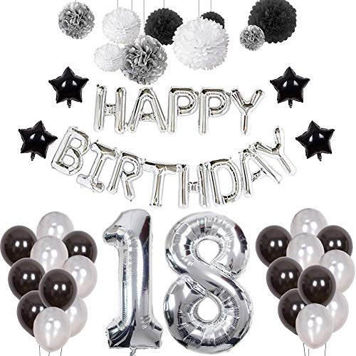 18th Birthday Decorations, Puchod Happy 18 Birthday Banner Number 18 Foil Ballon Party Decor Set Black White Silver with Tissue Paper Pom Pom Balls for Boy Men