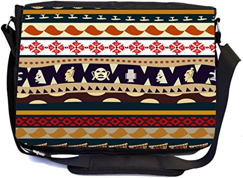 Rikki Knight Tribal Masks Pattern Brown White and Orange Design Multifunctional Messenger Bag - School Bag - Laptop Bag - with padded insert for School or Work - Includes Matching Compact Mirror