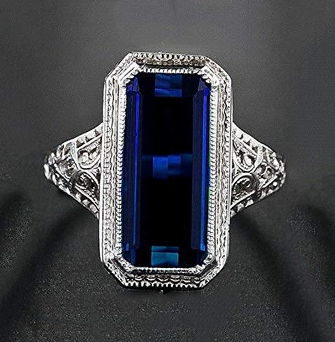 Waldenn 925 Silver Ring Women Men Huge 8.2ct Sapphire Engagement Wedding Party Size 6-10 | Model RNG - 14325 | 10 ()