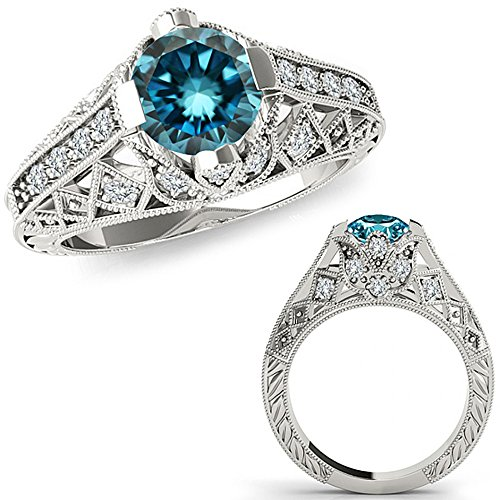 1.25 Carat Blue Diamond Fancy Designer Filigree Starburst Victorian Engagement Ring 14K White Gold