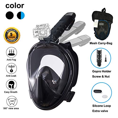Adult Pro Full Style Button (Ufanore Full Face Snorkel Mask Adult and Scuba Diving Mask 180 View Large Snorkeling Mask Anti-Fog Anti-Leak Design with Detachable Compatible with GoPro Mount Skin Diving)