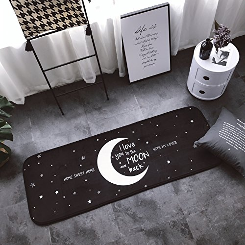 Moon & Stars Decor Runner Area Rug Anti-slip Microfiber Door Bathroom Bedside Mat Mildew Resistant Non Toxic Eco-Friendly No Odor For Home Dorm or Apartment Decor HRG01-US # Moon & Star