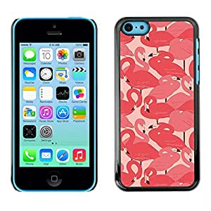 [Neutron-Star] Snap-on Series Teléfono Carcasa Funda Case Caso para iPhone 5C [Pink Flamingo Bandada de aves Miami Peach]