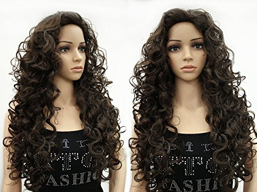 OneDor Long Hair Curly Wavy Full Head Halloween Wigs Cosplay Costume Party Hairpiece (6#-Chestnut Brown) (Brown Wig Siren)