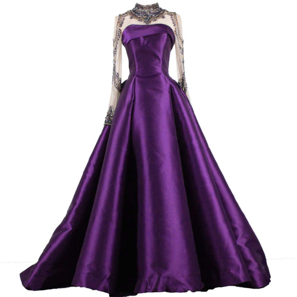 Purple Liaoye Long Evening Dress for Women Formal with Sleeves Beaded Prom Dress Mermaid Party Ball Gowns