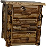 Rustic Aspen Log 3 Drawer Nightstand For Sale