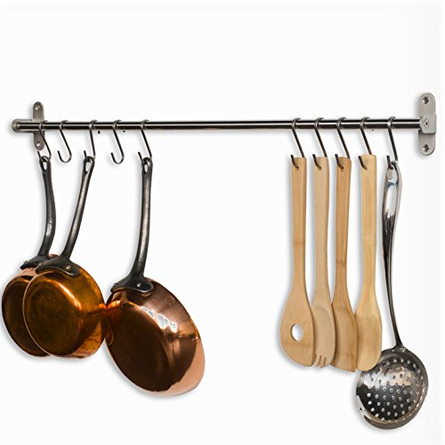 Wallniture Lyon Gourmet Kitchen Wall Mount Rail and 10 Hooks Stainless Steel Pot Pan Lid Holder Rack 31.5 Inch ()