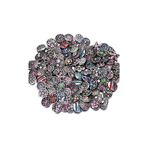 Zimzalabim-offical-store 10pcs/lot Snap Jewelry 18mm Snap Buttons Mixed Purple Rhinestone Metal Flower Snaps Buttons Snap Bracelet Bangle,14 from Zimzalabim-offical-store