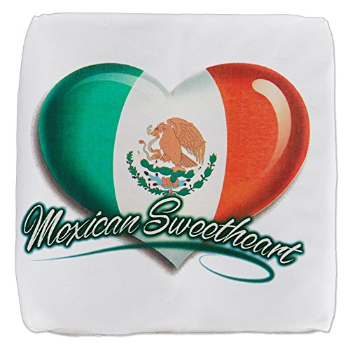13 Inch 6-Sided Cube Ottoman Mexican Sweetheart Mexico Flag by Royal Lion
