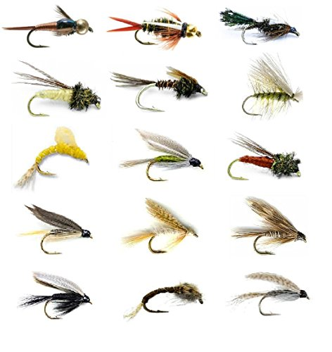 Fly Fishing Flies Assortment - Popular for Trout Fishing and Other Freshwater Fish - 30 Wet Flies - 15 Patterns Nymphs, Emergers, Bead Head Prince, Copper John, Mayflies, Caddis, and More (30) (Best Wet Flies For Brown Trout)