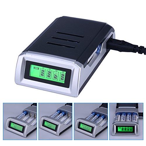 CkeyiN cargador de batería inteligente universal de 4 ranuras para pilas recargables de Ni-Cd Ni-MH AA / AAA