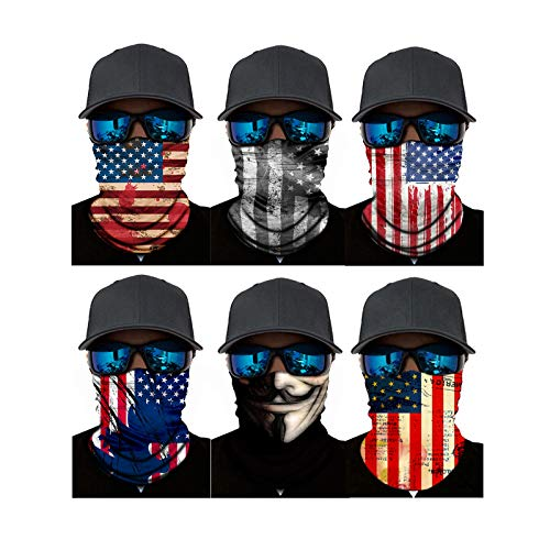 ATIMIGO America Flag Neck Gaiter Face Cover Scarf Mouth Mask Bandanas Headband Balaclava for Women Men(6 Pack)