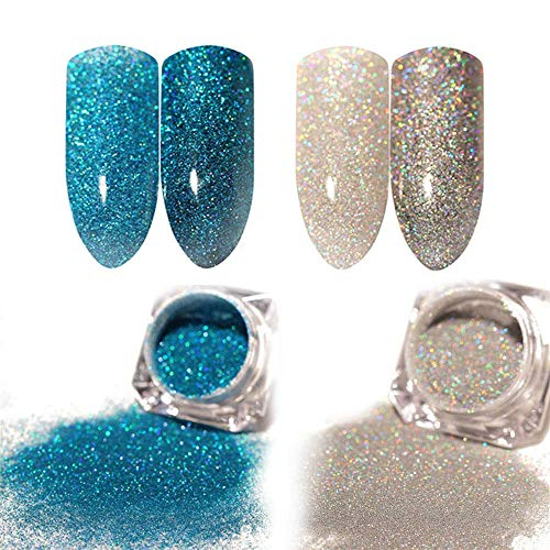(Nail Dip Powder Holographic, 2 Pack Acrylic Holographic Powder Nail Art Chrome Pigment Dust Manicure DIY Nail Decoration)