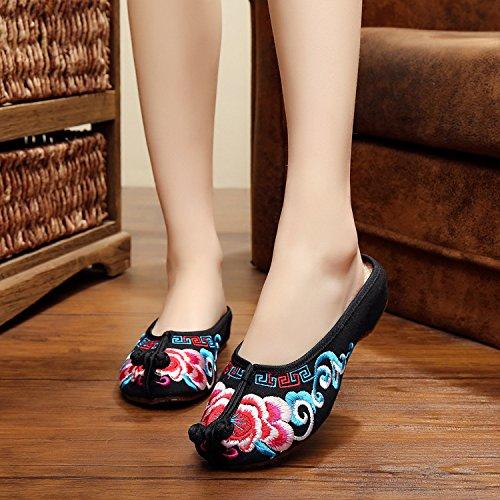 DESY Gestickte Schuhe, Sehnensohle, ethnischer Stil, weiblicher Flip Flop, Mode, bequeme, lässige Sandalen , red , 37