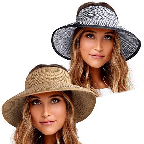 Sun Visor Hats for Women Wide Brim Straw Roll Up Ponytail Summer Beach Hat UV UPF 50 Packable Foldable Travel FURTALK (One Size, Y-khaki mix black white)
