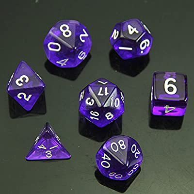 YSTD® 7 Sided Die D4 D6 D8 D10 D12 D20 MTG RPG D&D DND Poly Dices Board Game Chess Purple