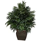 Exclusive By Nearly Natural Triple Bamboo Palm w/Decorative Planter Silk Plant