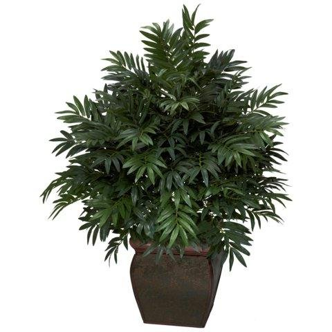 Exclusive By Nearly Natural Triple Bamboo Palm w/Decorative Planter Silk Plant by Nearly