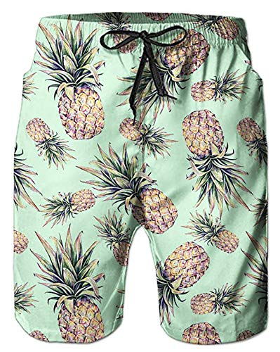 Alistyle Mens 3D Pineapple Swim Trunks Summer Casual Beach Swimming Vacation Surfing Shorts