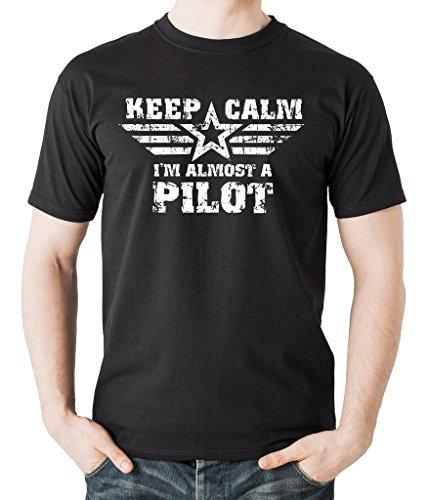 Keep Calm I Am Almost A Pilot T-Shirt Funny Gift for Pilot Medium Black