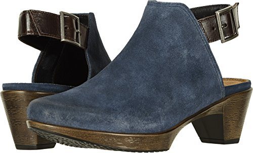 NAOT Women's Upgrade Brushed Midnight Blue Suede/Walnut Leather 35 M (Naot Suede Clogs)