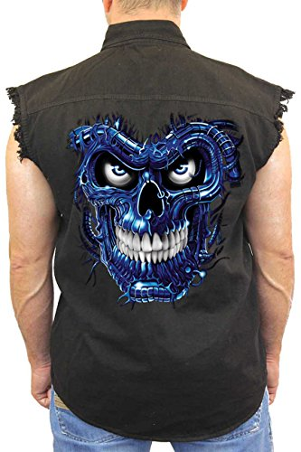 SHORE TRENDZ Men's Sleeveless Denim Shirt Blue Robotic Skull Biker: Black (5XL)