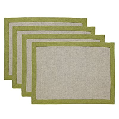 Solino Home 100% Pure Linen Placemats Concordia, Set of 4 Natural Fabric Handcrafted Machine Washable Olive Placemats, 14 x 19 Inch - Made from 100% European Flax Set of 4, Size - 14 x 19 Inch Easy Care - Machine Washable, Low Iron as Needed - placemats, kitchen-dining-room-table-linens, kitchen-dining-room - 51qKwkp2OpL. SS400  -