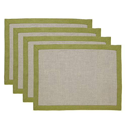 Solino Home 100% Pure Linen Placemats Concordia, Set of 4 Natural Fabric Handcrafted Machine Washable Olive Placemats, 14 x 19 Inch