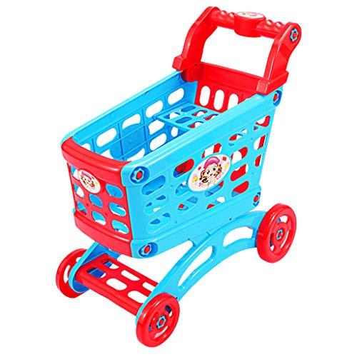B Blesiya Carro De La Cesta De La Compra del Supermercado De Ultramarinos del Color Azul Y Rojo para Los Niños De Los...