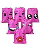 Emoji Drawstring Backpack Bags for Kids Teens Girls and Boys 6 Pack, Gift Goody Birthday Party Favor Bags