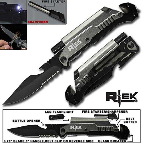 9 Tactical Spring Assisted Red Survival 7 in 1 Rescue Pocket Knife LED Light Fire Starter Blade Sharpener Bottle Opener Glass Breaker Belt Cutter (Gray)
