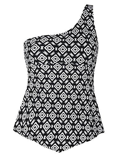 Hilor Women's One Shoulder Tankini Asymmetrical Swim Top Flowy Handkerchief Swimwear Argyle Pattern 14 (Pattern Top Argyle)