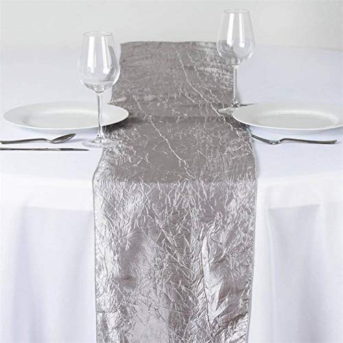 (Efavormart Silver Taffeta Crinkle Premium Table Top Runner for Weddings Party Banquets Decor Fit Rectangle and Round Table)