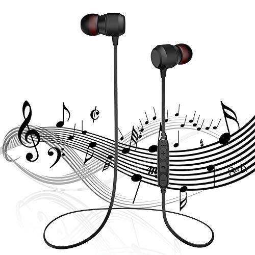 Bluetooth Headphone, Bass Earphone with Microphone Bluetooth V4.2+EDR,Noise Reduction in-Ear Sweat-Proof Headphones, High-Fidelity Stereo Noise Reduction Microphone,Comfy & Fast Pairing