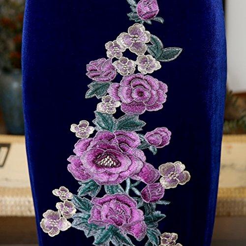 Longue Chic Pour Acvip Cheongsam Couleurs Femme Chinoise Bleu 4 Robe Fleur En Cérémonie Velours Style Qipao Soirée Elégant SYUBYq