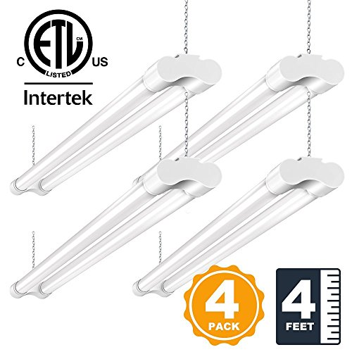 LED Shop Lights for Garage 36W 4FT BBOUNDER Utility Lighting Plug in 3600 Lumens 5000k Daylight Double Fixtures 82+ CRI for Basement Workbench White 64 Watt Fluorescent Equivalent-Pack of 4