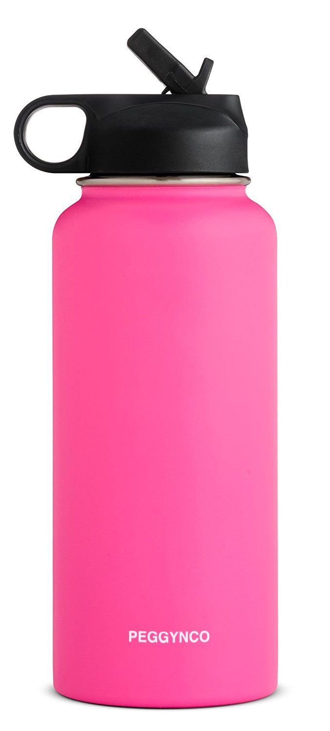 PEGGYNCO Water Bottle Double Wall Vacuum Insulated Stainless Steel Sports Wide Mouth Water Bottle