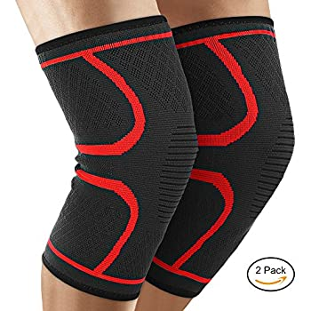 Knee Compression Sleeve,Famirosa Flex Athletics Knee Brace (Pair) Support for Running Jogging Sports Joint Pain Relief Arthritis and Injury Recovery for Men Women Elder (Small)