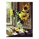 Crafts Graphy Paint by Numbers for Adults, DIY Oil Painting - Sunflower by Window, 16 x 20 inches
