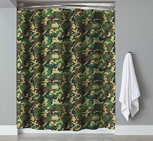 - Mildew Resistant Bath Shower Curtain - Printed Bathroom Decoration, Anti-Bacterial Drape Liner Bath Curtains with Hooks, Water Repellent Fabric Cloth (67 x 72 inch) (Camouflage)