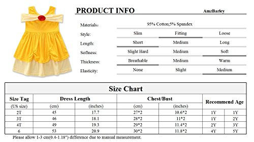 AmzBarley Girls' Belle Costume Party Dress up Clothes Flower Princess Dresses Yellow Size 6 by AmzBarley (Image #7)