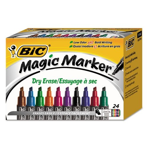 BIC Magic Marker Brand Dry Erase Marker, Tank Style, Chisel Tip, Assorted Colors, 24-Count by BIC (Image #1)