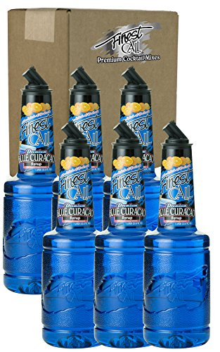 Finest Call Premium Blue Curacao Drink Mix, 1 Liter Bottle (33.8 Fl Oz), Pack of 6 (Curacao Liqueur Recipes)