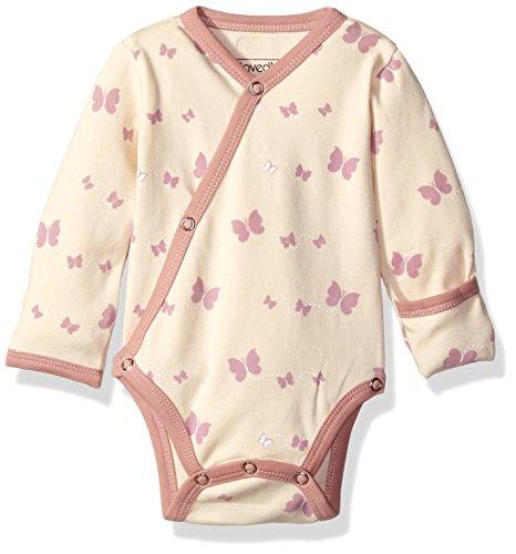 (L'ovedbaby Unisex-Baby Newborn Organic Kimono Bodysuit, Mauve Butterflies, 0-3 Months)