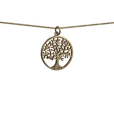 ca4314e2d40 9ct Gold 24mm round 1.7mm thick Tree of Life Pendant with a 1.1mm wide  cable Chain 16 inches Only Suitable for Children: Amazon.co.uk: Jewellery
