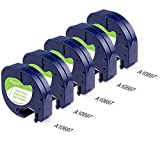 5 Pack Replace Dymo Letratag Labelling Refills 91330 10697 (S0721510) Labeling Tapes, Black on White Self-Adhesive Paper Tape for DYMO LetraTag Plus LT-100T LT-100H QX50 Label Makers, 1/2 Inch x 13 ft