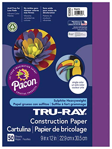 Pacon 103064 Tru-Ray Construction Paper, 18in. x 24in, Magenta