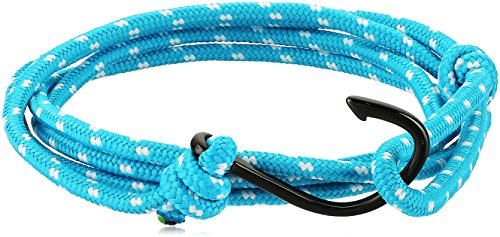 Crucible Jewelry Unisex Adult Black Plated Polished Stainless Steel Hook Clasp Blue Rope Adjustable Wrap Bracelet (3.5mm Wide), Turquoise/Black, One Size